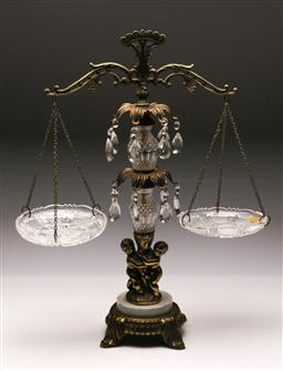 Sale 9119 - Lot 16 - Ornate marble & brass based cantilever scales (h:55cm)