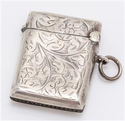 Sale 9180E - Lot 143 - A small sterling silver vesta containing matches, Birmingham, c.1938, by William Hair Haseler; W H Haseler Ltd, weight 17.5g