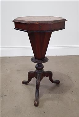Sale 9190H - Lot 151 - An octagonal hinged top sewing table with fitted interior raised over tri-leg base, Height 75cm x Width 46cm, lid needs re-securing...