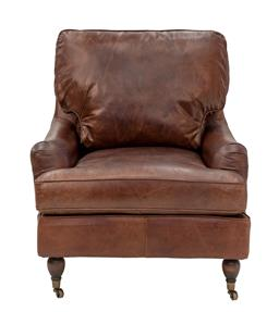 Sale 9250T - Lot 12 - A pair of top grain vintage leather armchairs with 2 front castor wheels. Height 89cm x Width 83cm x Depth 97cm