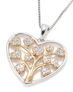 Sale 9221 - Lot 315 - A SILVER DIAMOND TREE OF LIFE PENDANT NECKLACE; set with 25 single cut diamonds with gilt highlights, size 25 x 23mm, on a box link...