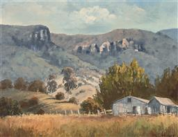 Sale 9244A - Lot 5081 - JOE HUBER (1930 - ) Farm Cottages, Jamison Valley, Blue Mountains oil on board 33.5 x 44 cm (frame: 56 x 66 x 5 cm) signed lower right