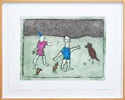 Sale 8347A - Lot 96 - Erica Rutherford (1923 - 2008) - The Game 44.5 x 60cm