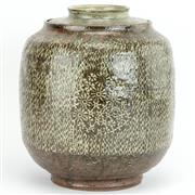 Sale 8356A - Lot 26 - Won Seok Kim Studio Pottery Punch'óng Garden Lidded Straight Jar