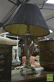 Sale 8338 - Lot 1298 - Silver Coloured Lamp with Pleated Shade