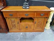 Sale 8657 - Lot 1005 - Edwardian Kauri Pine Sideboard with Three Drawers & Four Doors (H: 100 W: 153 D: 49.5cm)