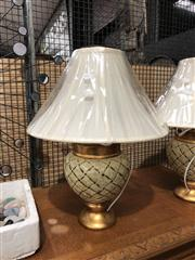 Sale 8697 - Lot 1638 - Pair of Italian Beige & Gold Table Lamps with Basket Pattern