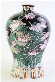 Sale 8852 - Lot 84 - A Chinese Studio Mark Black Ground Floral Vase (H 37cm)