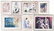 Sale 8973 - Lot 2077 - Group of (7) original works on paper by Margaret Basden (framed/various sizes)