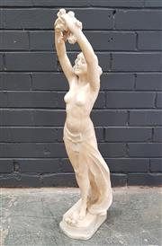 Sale 8993 - Lot 1010 - An Early Art Deco Alabaster Exotic Nude, of a young woman wearing a skirt & holding roses aloft, signed indistinctly to back of base...
