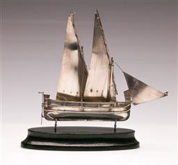 Sale 9122 - Lot 112 - Maltese Sterling Silver Boat on Stand (h:20cm)