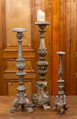 Sale 9160H - Lot 23 - A group of three French carved timber torcheres with acanthus decoration of classical design, with gessoed finish, tallest Height 82cm