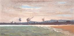 Sale 9254 - Lot 2068 - JACK RYDE Wollongong Harbour, 1977 oil on board 29 x 59 cm (frame: 45 x 76 x 4 cm) signed and dated lower left titled verso