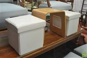 Sale 8406 - Lot 1150 - Two Lift Top Boxes with Bent Ply Stool