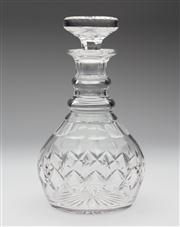 Sale 8660A - Lot 45 - An excellent quality hand cut lead crystal ring neck decanter. H 23cm.