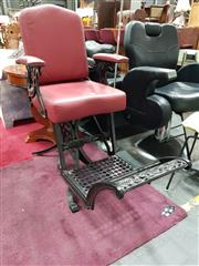 Sale 8676 - Lot 1010 - Reproduction Leather Upholstered Barber Chair with Studded Trim