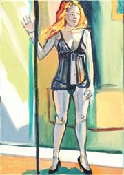 Sale 8781 - Lot 508 - Stewart MacFarlane (1953 - ) - Woman at Door (Study for Booth) 46 x 36cm
