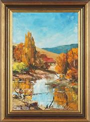 Sale 8803 - Lot 2023 - John Briscoe (1939 - 1996) Autumn Country Scene with Cottage and River oil on board, 39 x 26.5cm, signed -