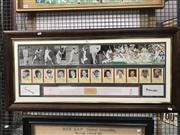 Sale 8805A - Lot 807 - Australian Team of the Century Collage, this one signed by Neil Harvey and Greg Chappell. Framed.