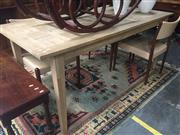 Sale 8839 - Lot 1320 - Recycled Oak Parquetry Top Dining Table (H: 76.5 L: 180 W: 85cm)