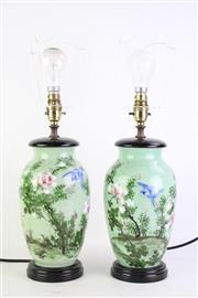 Sale 8844O - Lot 549 - A Pair of Green Ground Raised Floral and Bird Themed Table Lamps (H 50cm)