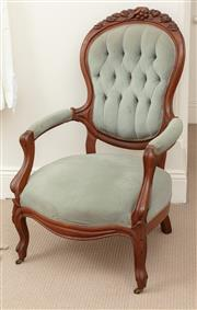 Sale 9070H - Lot 112 - A button back grandfather chair with powder blue velvet upholstery, height of back 103cm x Width 66cm