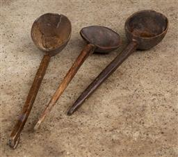 Sale 9160H - Lot 176 - A group of three carved timber ladles, largest Length 48cm