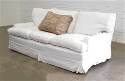 Sale 9166 - Lot 1032 - Three seater white fabric upholstered lounge - not including tan cushion (h82 x w200 x d100cm)