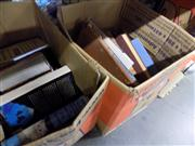 Sale 8900 - Lot 75 - 2 Boxes of Various Books incl. Sharman, J. Blood & Tinsel; Morton, A. The Royal Yacht Britannia Life on board the Floating Palace...