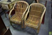 Sale 8500 - Lot 1223 - Pair of Tied Cane Armchairs