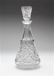 Sale 8660A - Lot 73 - A very elaborate European hand cut lead crystal decanter, mid 1900s, H 29.5cm