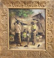 Sale 8958 - Lot 2044 - Balinese School Village Scene with Market Stall and Villagers acrylic on canvas 49 x 55cm (hand-carved wooden frame)