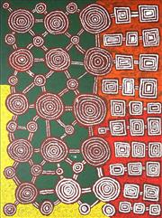Sale 9034A - Lot 5015 - Maurice Gibson Tjapaltjarri - Tingari Dreaming Cycle 131 x 97 cm (stretched and ready to hang)