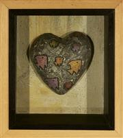 Sale 9091 - Lot 2035 - Christina Cordero (1938 - ) Fish Heart N.1, 2000 - 2001 3-D etching and acrylic on wood, frane: 23 x 20cm, signed -