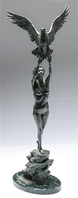 Sale 9093 - Lot 95 - Bronze Sculpture of A Lady on Marble Base (H:65cm)