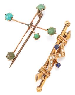 Sale 9140 - Lot 368 - TWO ANTIQUE AUSTRALIAN GOLD STONE SET BROOCHES; a 15ct double bar brooch with zig zag motif set with 2 doublets and seed pearls (3 m...