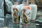 Sale 8308 - Lot 38 - Pair Of Painted Tiger Vases