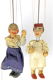 Sale 8330T - Lot 110 - Two Vintage Marionettes; probably Czechoslovakian in painted timber and composition.