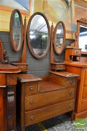 Sale 8465 - Lot 1662 - Inlayed Dresser with Wing Mirrors