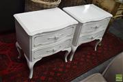 Sale 8500 - Lot 1228 - Pair of White Timber Bedsides with Two Drawers
