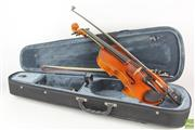 Sale 8563 - Lot 358 - Violin with Bow in Case