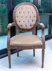 Sale 8568A - Lot 133 - A pair of Louis XVI style armchairs upholstered in mushroom coloured velvet, H of back 105cm