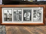 Sale 8863S - Lot 41 - Four Greats. A collage of four cricketing portraits - WG Grace, Laker, Randall and Lara.