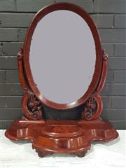 Sale 8956 - Lot 1012 - Victorian Mahogany Toilet Mirror with quatrefoil shaped base and trinket compartment (H:79 x W:70cm)