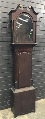 Sale 8993 - Lot 1028 - Regency Oak & Mahogany Clock Case Only, with broken arch hood (glass cracked), with arched waist door flanked by quarter columns (H:...
