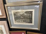 Sale 9033 - Lot 2059 - John Hawkesworth - Framed Engraving of Capt. Samuel Wallis of HMS Dolphin being received by the Queens of Otaheite July 1767 1773