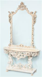 Sale 9040H - Lot 32 - A mid 20th  century, European mirror and marble top console with distressed finish total height 2.3m 40cm depth 1.28m wide