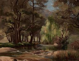 Sale 9116 - Lot 504 - Reg Campbell (1923 - 2008) Creek Scene oil on canvas on board 37 x 47 cm (frame: 61 x 71 x 6 cm) signed lower right