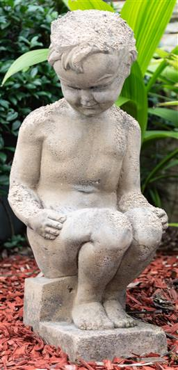 Sale 9162H - Lot 3 - A sandstone seated figural group, Height 72cm