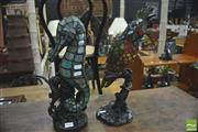 Sale 8392 - Lot 1063 - Pair of Leadlight Figural Lamps